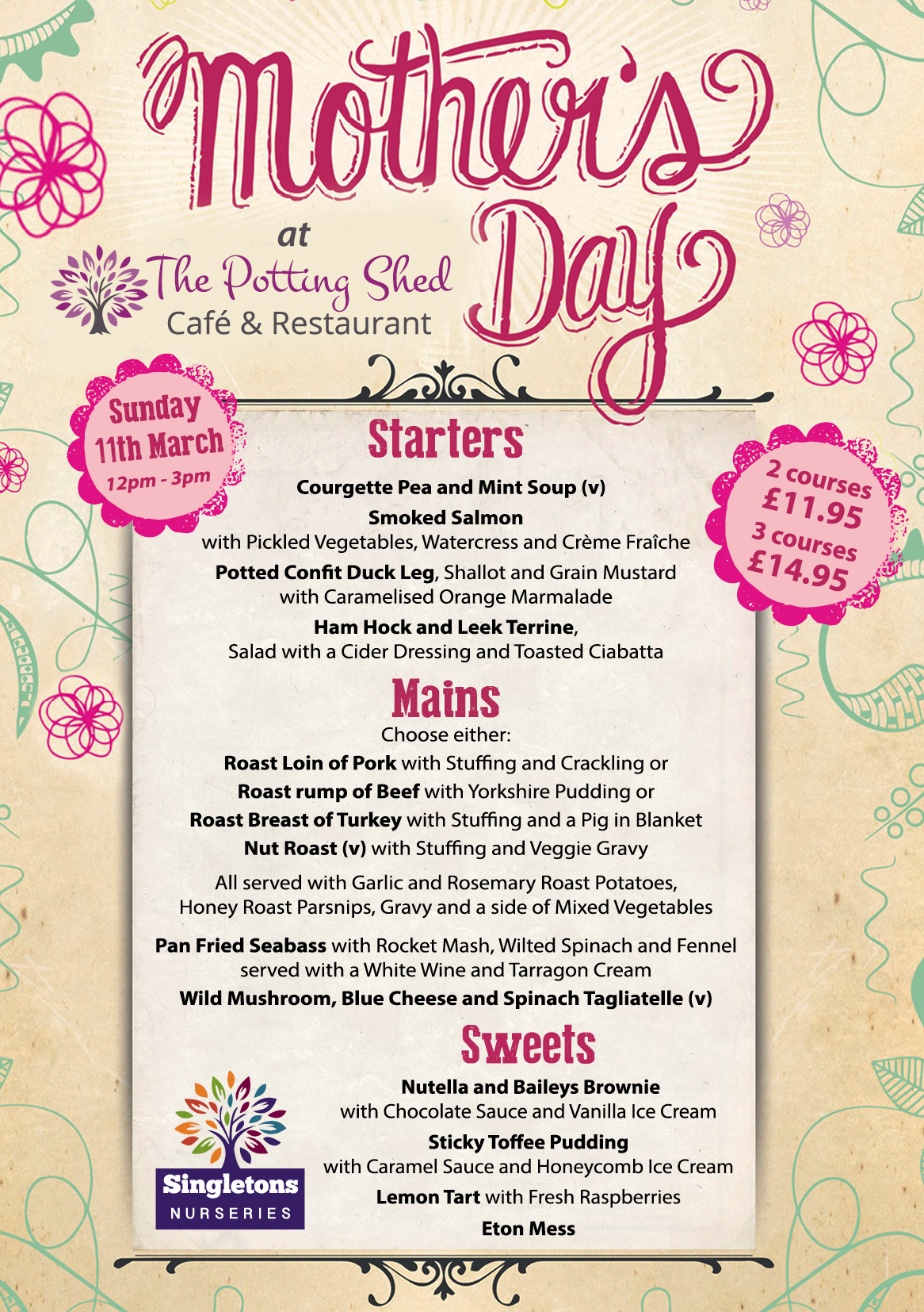 Mother's Day Lunch | The Potting Shed Cafe & Restaurant