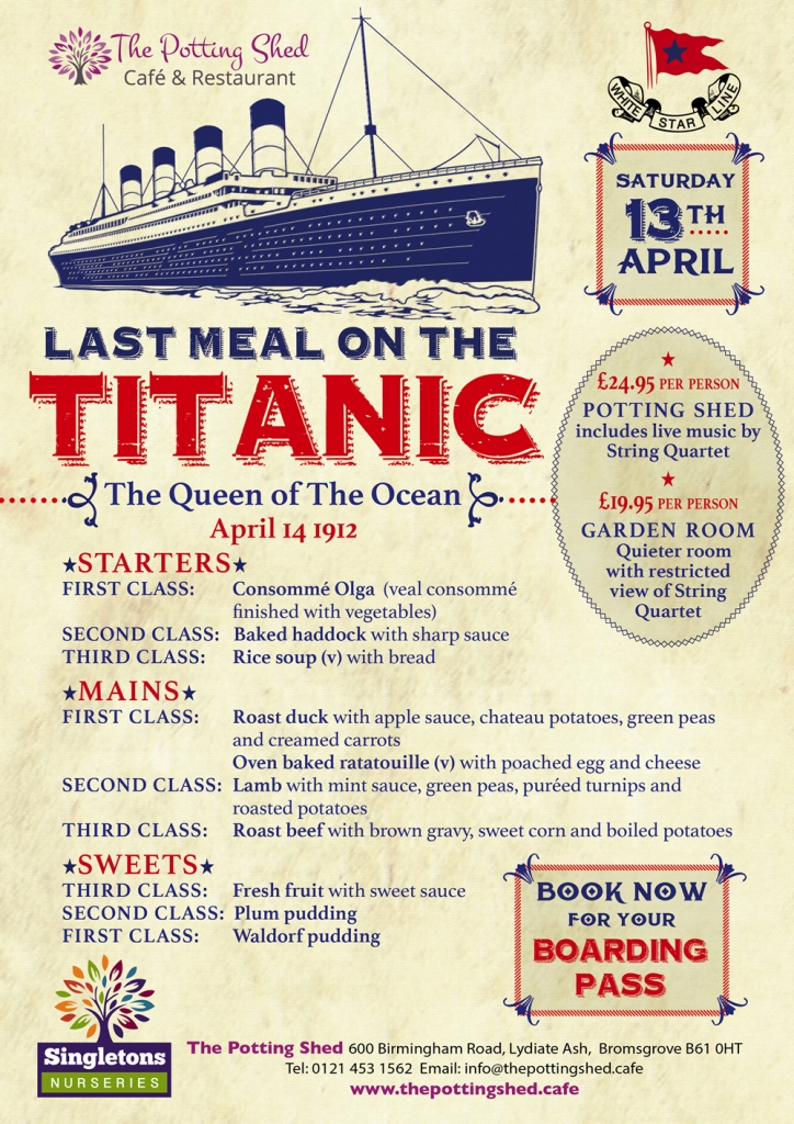 Titanic Meal at The Potting Shed Cafe
