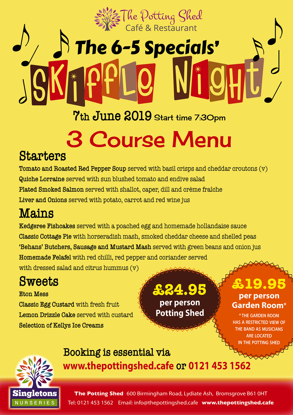The 6-5 Specials 50s Skiffle Night Menu