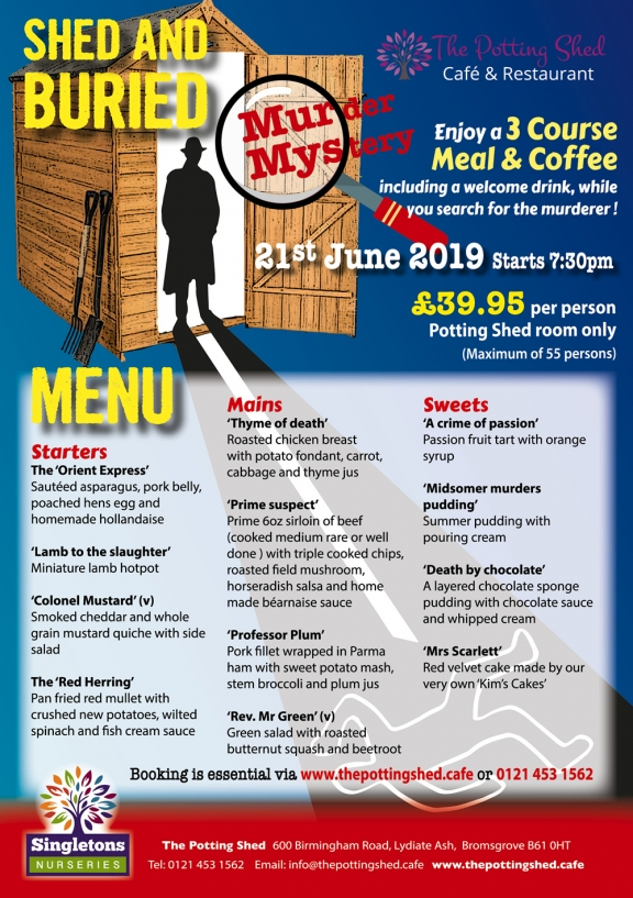 Shed and Buried - Murder Mystery Menu