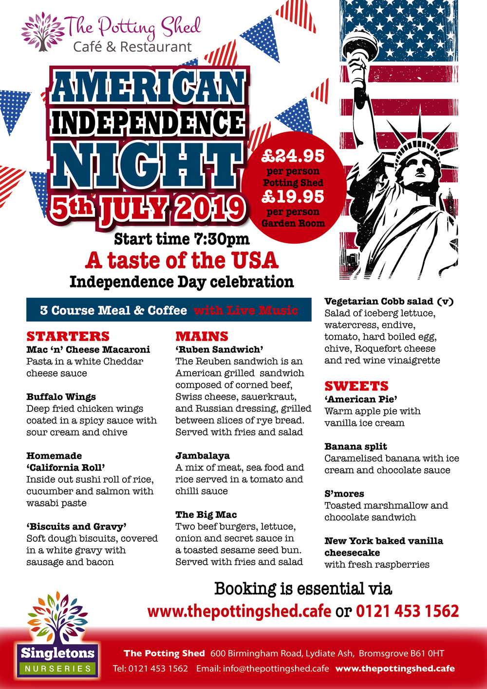 American Independence Night Menu
