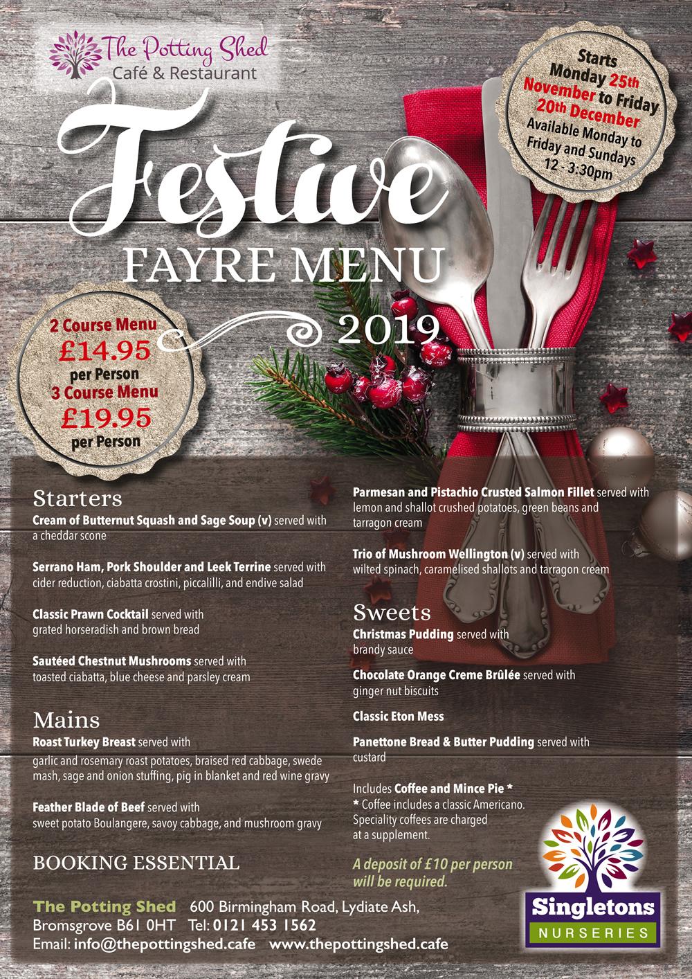 Festive Fayre Menu 2019