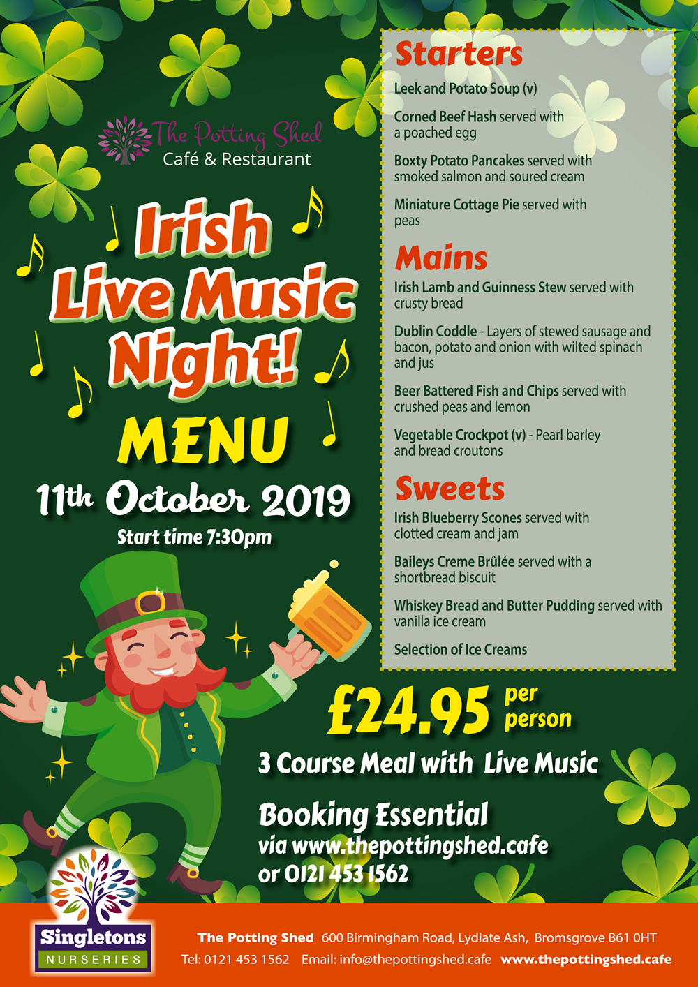 Irish Night Menu - 2019