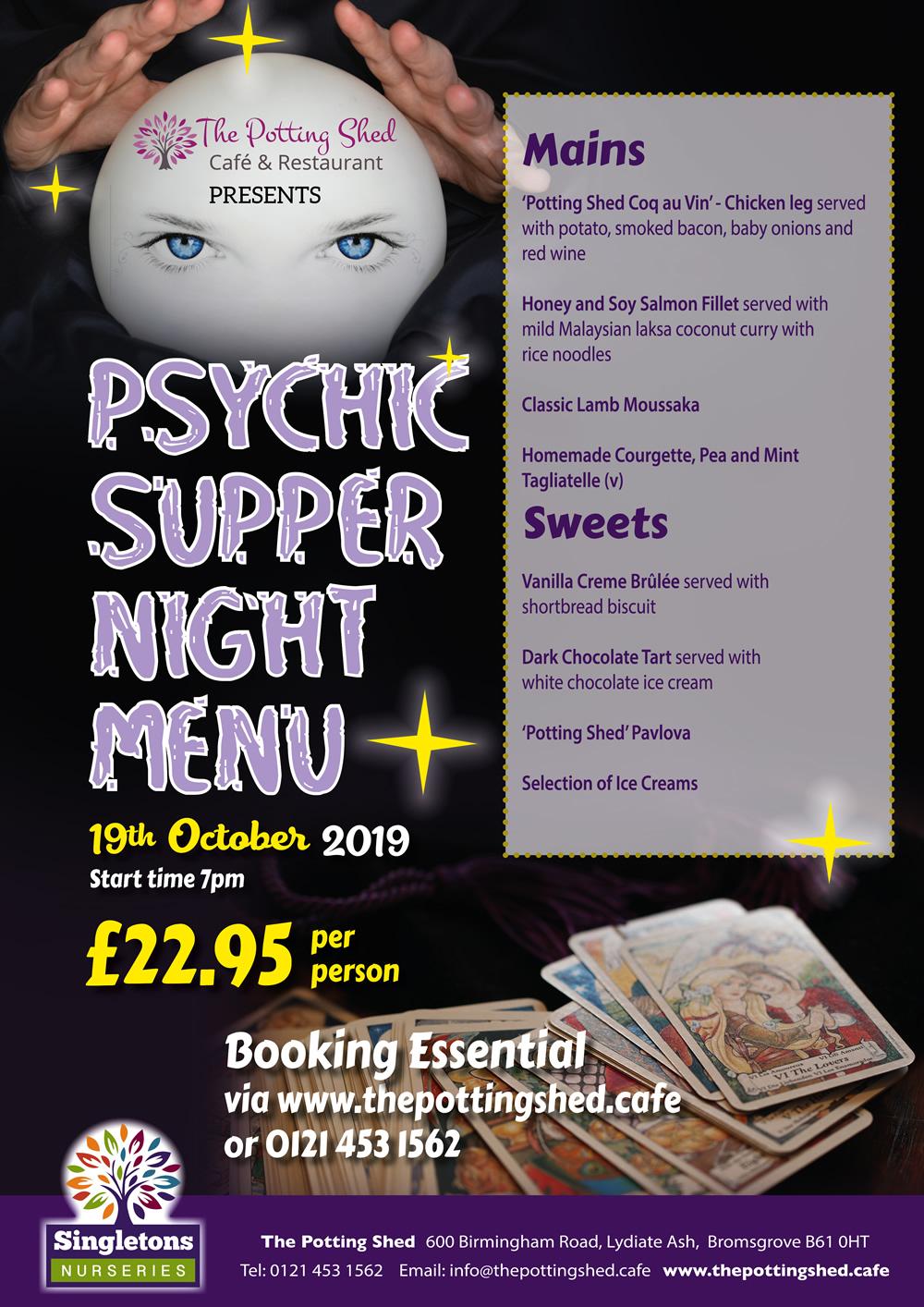 Psychic Supper Night Menu